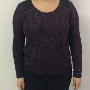 DKNY Jeans Purple Glitter Long Sleeve Blouse